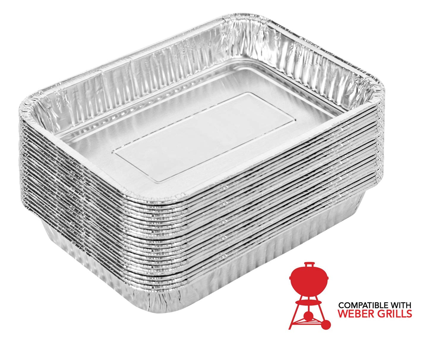 Stock Your Home Aluminum Drip Pan (25 Count) - Weber Aluminum Drip Pans - Weber Grill Pan - Weber Drip Pan Liners - BBQ Grease Pans - Disposable Drip Pan - Disposable Oil Drip Pan - Grill Grease Tray