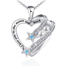Distance I Love You to The Moon and Back Mom Necklace 925 Sterling Silver Heart Pendant Necklace Jewelry Gifts for Women Mom Wife at Mother's Day