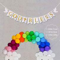 Uimiqc God Bless Baptism Banner Gold Glitter First Holy Communion Decorations Baby Shower Party Decor