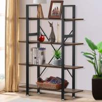 Yesker 4 Tier Bookshelf, Industrial Style Bookcase with Wood and Metal Frame, Open Storage Bookshelf for Home Office, Vintage Brown
