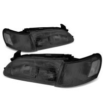 Replacement for Corolla Smoked Housing Clear Corner Front Bumper Driving Headlights/Lamps