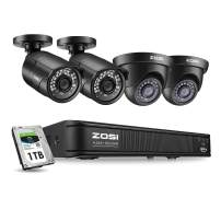 ZOSI 1080p H.265+ PoE Security Camera Systems Outdoor Indoor, 5MP 8 Channel PoE NVR Recorder and 4 x 2MP Surveillance CCTV Bullet Dome IP Cameras with Long Night Vision (1TB Hard Drive Built-in)