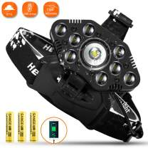 LED Headlamp Super Bright, 3500 Lumen Work Headlight Hands Free, Zoomable Waterproof Rechargeable Headlamps Flashlight, Best for Working Fishing Repairing. Batteries Included.