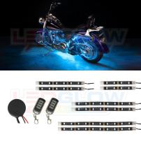 LEDGlow 8pc Advanced Ice Blue LED Motorcycle Accent Neon Underglow Lighting Kit - 4 Patterns - 4 Brightness Levels - Flexible Light Strips - Includes Waterproof Control Box & 2 Wireless Remotes