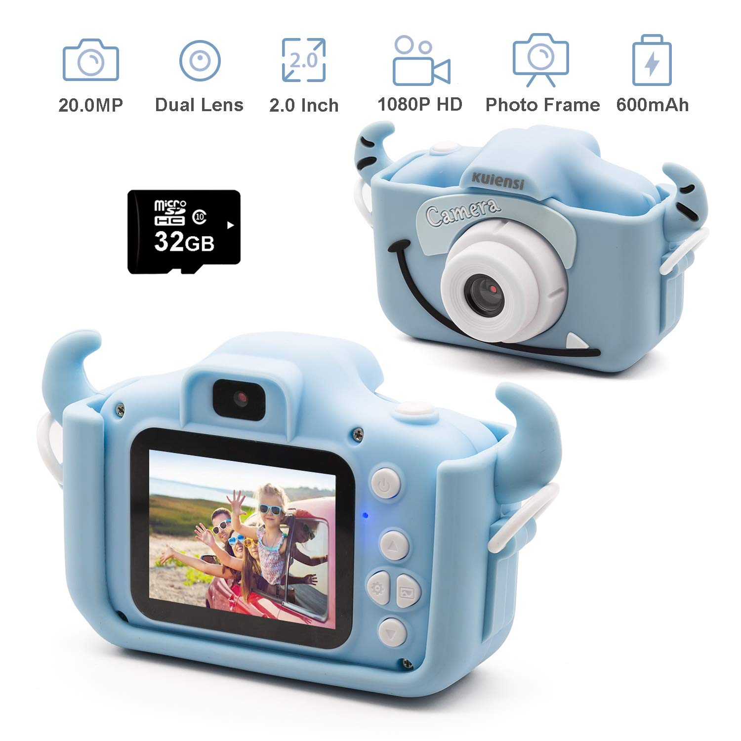 Kids Digital Camera, Girls Birthday Toy Gifts for 4-13-Year-Old Children, Dual Lens 20.0MP Toddler Cameras, Child Camcorder Video Recorder 1080P IPS 2.0 Inch with 32G TF Card, Cow Soft Silicone Case