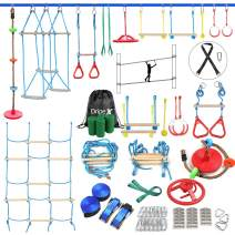 Ninja Warrior Obstacle Course for Kids - Ninja Slackline with Most Complete Accessories for Kids, Climbing Rope Swing, Trapeze Swing, Ninja Wheel, Webbing Ladder