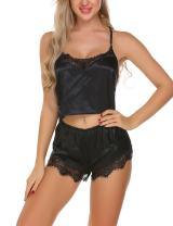 Ekouaer Sexy Satin Lingerie Chemise Lace Pajama Shorts Set For Women,Black,X-Large