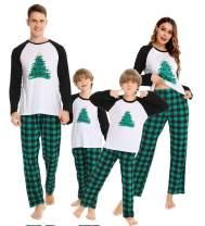 SWOMOG Matching Family Christmas Pajamas Printed Long Sleeve Sleepwear Women Men Kids PJ Sets