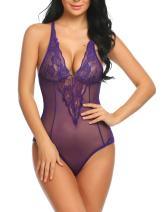 Avidlove Women Lingerie Teddy One Piece Bodysuit Halter Lace Chemise Nightwear