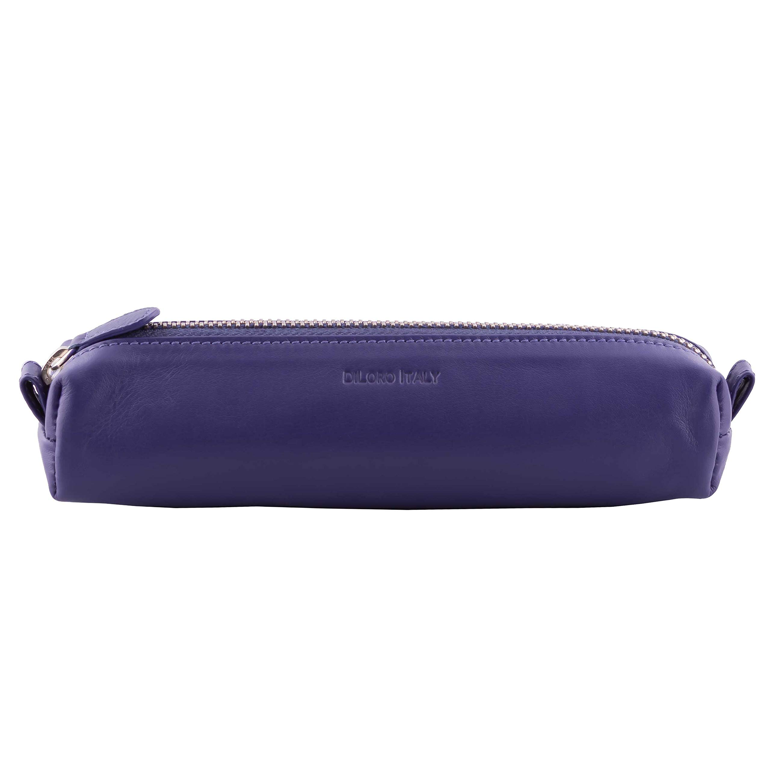 DiLoro Leather Zippered Fountain Ballpoint Rollerball Pens and Pencils Case Holder Pouch Genuine Full Grain Soft Nappa Leather (Violet)