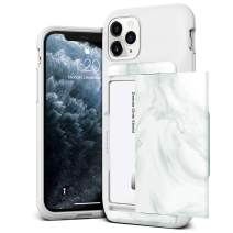 VRS DESIGN Damda Glide Shield Compatible for iPhone 11 Pro Case, with [2 Cards] Premium [Semi Auto] Card Wallet for iPhone 11 Pro 5.8 inch(2019) White Marble
