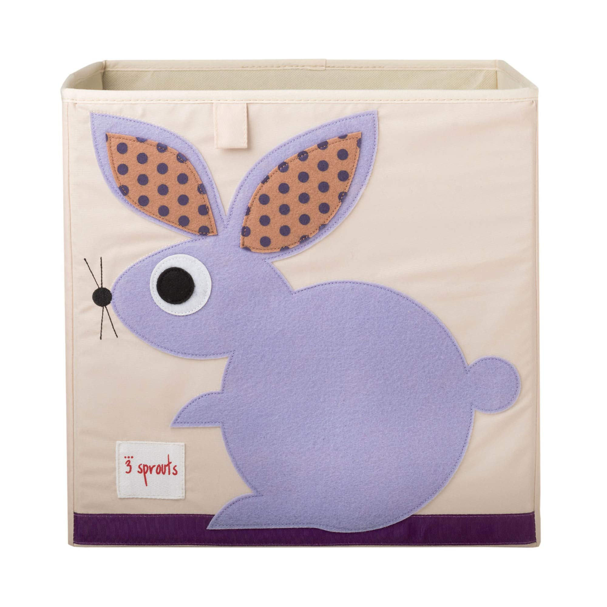 3 Sprouts Cube Storage Box - Organizer Container for Kids & Toddlers, Rabbit