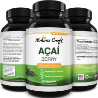 Acai Berry Capsules Antioxidant Supplement - Acai Berry Cleanse Superfood Supplement for Brain Booster Heart Health and Natural Energy Boost - Acai Capsules and Memory Supplement for Brain Health