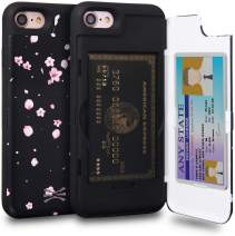 TORU CX PRO iPhone 8 Wallet Case Pattern Floral with Hidden Credit Card Holder ID Slot Hard Cover & Mirror for iPhone 8 / iPhone 7 / iPhone SE 2020 - Sakura Flowers