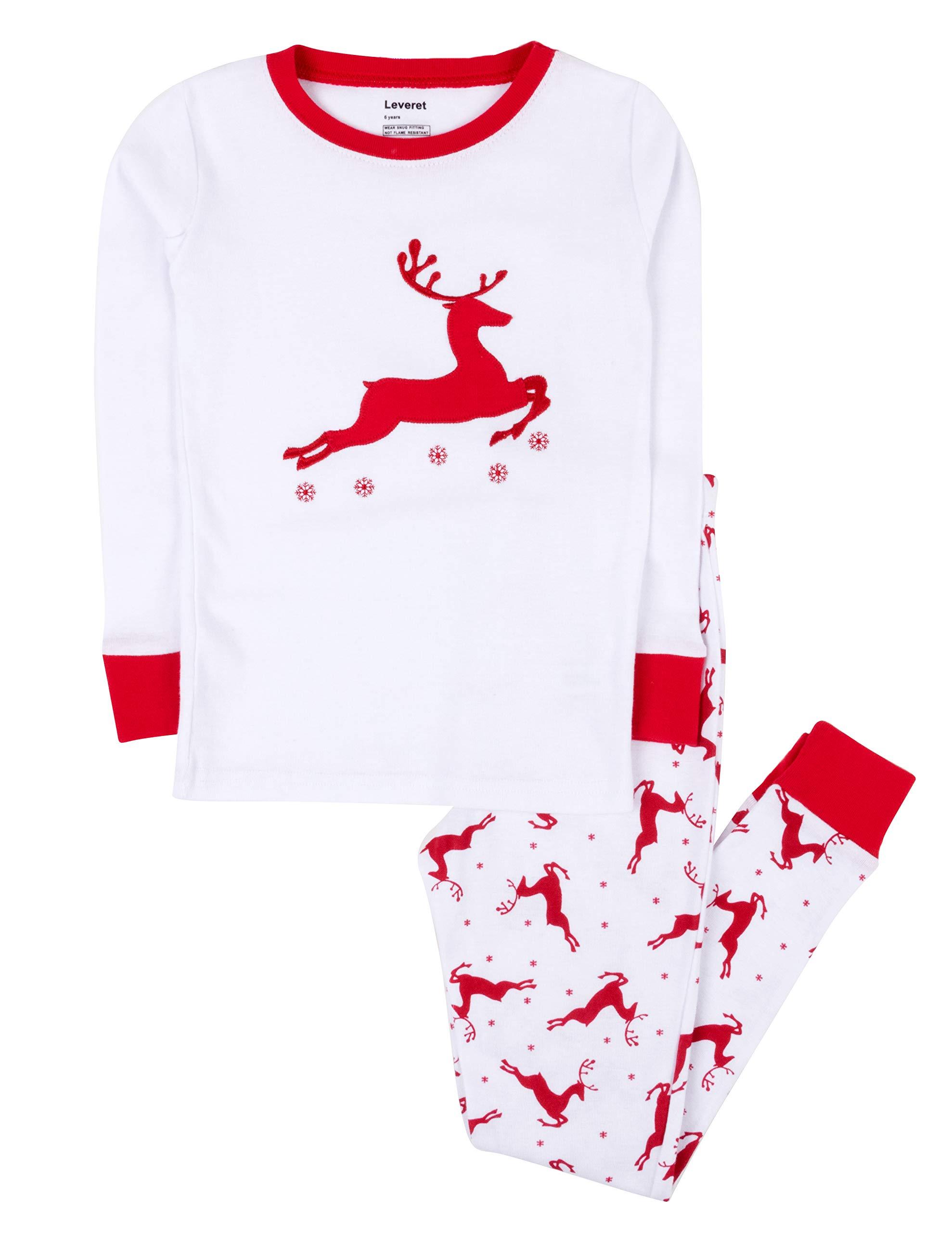 Leveret Kids Christmas Pajamas Boys Girls & Toddler Pajamas Moose Reindeer 2 Piece Pjs Set 100% Cotton (12 Months-14 Years)