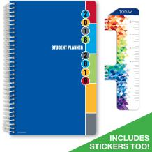 """Dated Middle School or High School Student Planner for Academic Year 2018-2019 (Matrix Style - 5.5""""x8.5"""" - Blue Colors Cover) - Bonus Ruler/Bookmark and Planning Stickers"""