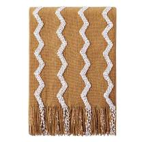 "Bourina Fluffy Chenille Knitted Fringe Throw Blanket Lightweight Soft Cozy for Bed Sofa Chair Throw Blankets, 50"" x 60"" (Dark Gold, 50""x60"")"