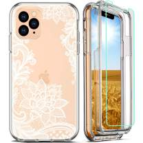 FIRMGE for iPhone 11 Pro Max Case, with Tempered Glass Screen Protector 360 Full-Body Coverage Hard PC TPU Silicone 3 in 1 Military Grade Heavy Duty Shockproof Phone Protective Cover- Clear Lace