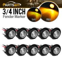 "Partsam 10x 3/4"" Clear Lens Amber Yellow Round Led Lights Trailer Marker High Low Brightness 3SMD, 3/4"" Led Trailer Clearance, side Marker Lights, turn signal and running lamp"