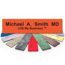 LHS My Business | Engraved Desk Name Plate Personalized Orange Plastic Office Sign Black Letters | Desk Decor 2x10 - B11