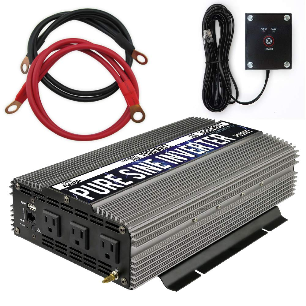 GoWISE Power 1500W Pure Sine Wave Power Inverter 12V DC to 120 V AC with 3 AC Outlets, 1 5V USB Port, 2 Battery Cables, and Remote Switch (3000W Peak) PS1005