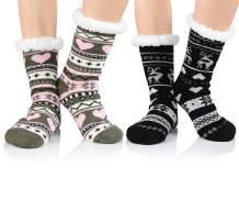 Durio Fuzzy Socks for Women Warm Fluffy Cozy Slipper Socks with Grippers Fleece-lined Winter Socks Christmas Gifts