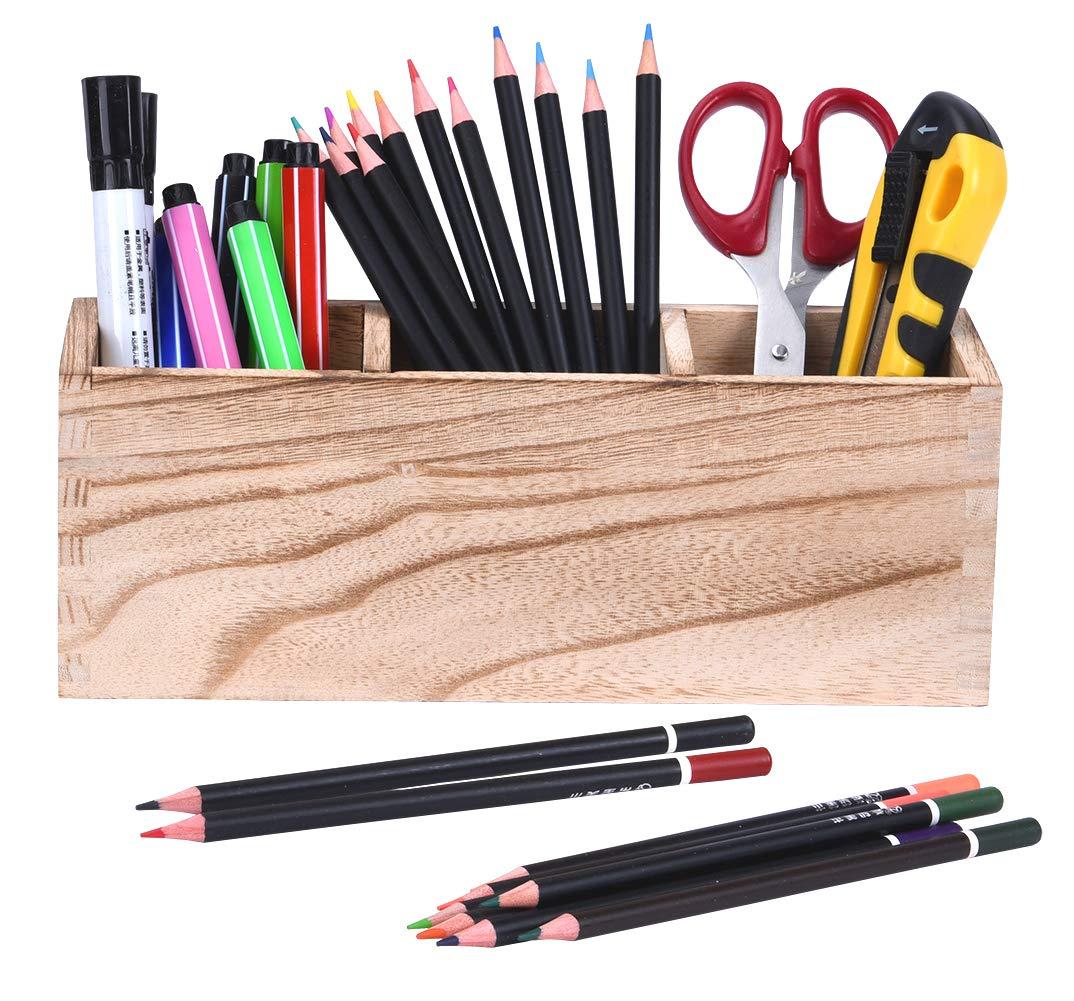 Pen Holder for Desk, Wood Desk Pencil Holder,3 Compartments Pen Organizer Storage, Office School Desktop Pencil Cup Pot