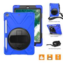New iPad 6th/5th Generation Case, BRAECNstock Protective Shockproof Silicone Case with Pen Holder, 360 Degree Rotatable Stand/Handle Hand Strap, Shoulder Strap for iPad 9.7 inch 2018/2017 (Blue)