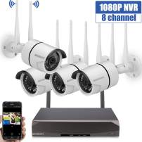 Security Camera System Wireless,8 Channel Home Outdoor Wireless Surveillance Camera System and 4Pcs 1080P WiFi Security Weatherproof IP Camera with Night Vision,Remote View,NO Hard Drive