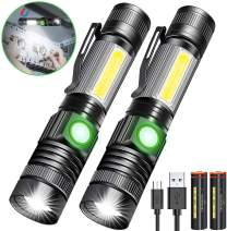 Rechargeable Flashlight, Magnetic Flashlight(with Battery), Super Bright Pocket-Sized COB Work Light T6 LED Torch with Clip, Zoomable, Water Resistant, 4 Modes for Camping Hiking 2 Pack