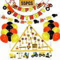 Funnlot Construction Birthday Party Supplies 55PCS Truck Party Supplies Construction Party Favor Dump Truck Party Decorations Kits Set for Kids Birthday Party