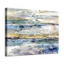 Abstract Picture Canvas Wall Art: Navy Blue Artwork with Silver Foil Hand Painted Painting for Living Room (36'' x 24'' x 1 Panel)