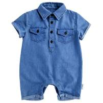 Y·J Back home Baby Boy Jeans Romper Infant Cotton-Denim Outfit