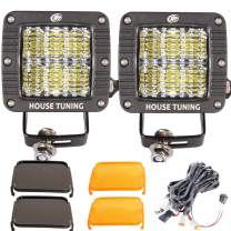 House Tuning LED Pods 3 inch Diffused Flood Light with Wiring Switch, Off Road LED Light 60W 12V for Jeep Wrangle Trucks 4WD 4x4 Boat Ford150 Motorcycle ATV UTV Toyota (Pack of 2)