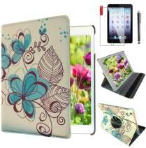 Ipad Case 360 Degrees Rotating Stand Leather Magnetic Smart Cover Case for Ipad 2/3/4 Generation Case with Bonus Screen Protector, Stylus and Cleaning Cloth (Blue-Flower Design)