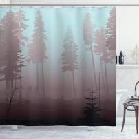 """Ambesonne Forest Shower Curtain, Early Morning in Mysterious Woods with Heavy Fog Coniferous Trees, Cloth Fabric Bathroom Decor Set with Hooks, 75"""" Long, Blue Rose"""