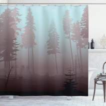"Ambesonne Forest Shower Curtain, Early Morning in Mysterious Woods with Heavy Fog Coniferous Trees, Cloth Fabric Bathroom Decor Set with Hooks, 75"" Long, Blue Rose"