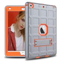 DONWELL Compatible for iPad 6 Case iPad 9.7 inch 2018/2017 Shockproof Defender Protective Cover with Kickstand Designed for iPad 5 5th 6th Generation Model A1823 A1822 A1893 (Type2- Grey/Orange)