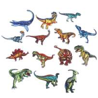 CCINEE 14pcs Iron On Patches DIY Sew On Decorative Appliques Stickers Embroidery Patches for Cloth Backpacks Jeans Coats, Dinosaur Theme