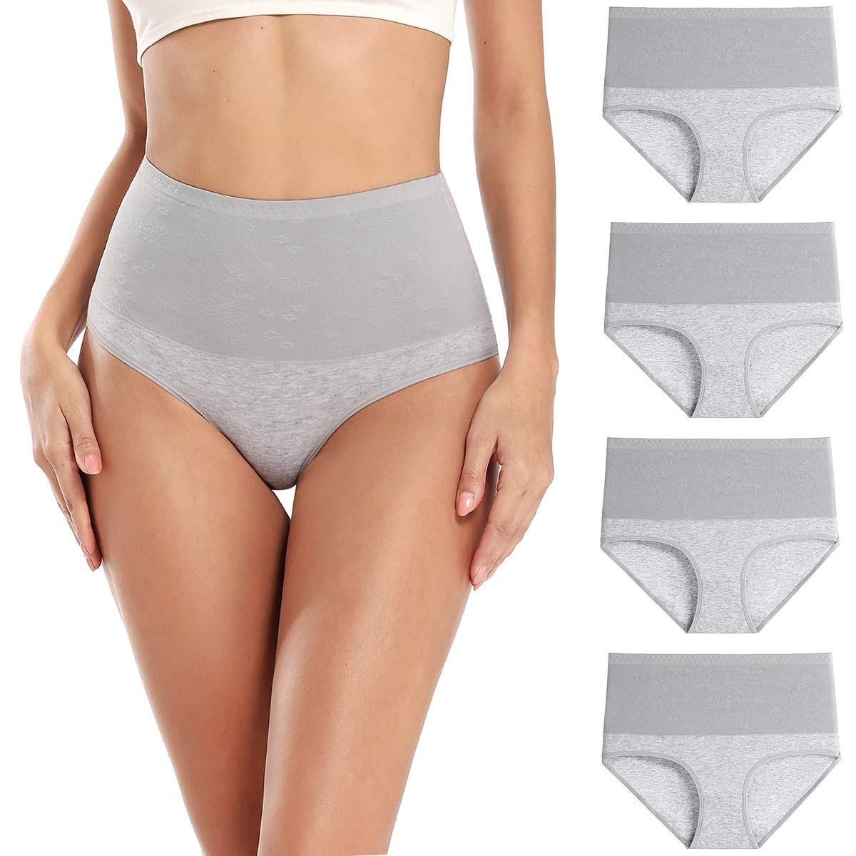 wirarpa Women's Cotton Stretch Underwear Briefs Soft Breathable High Waisted Full Coverage Ladies Panties Multipack