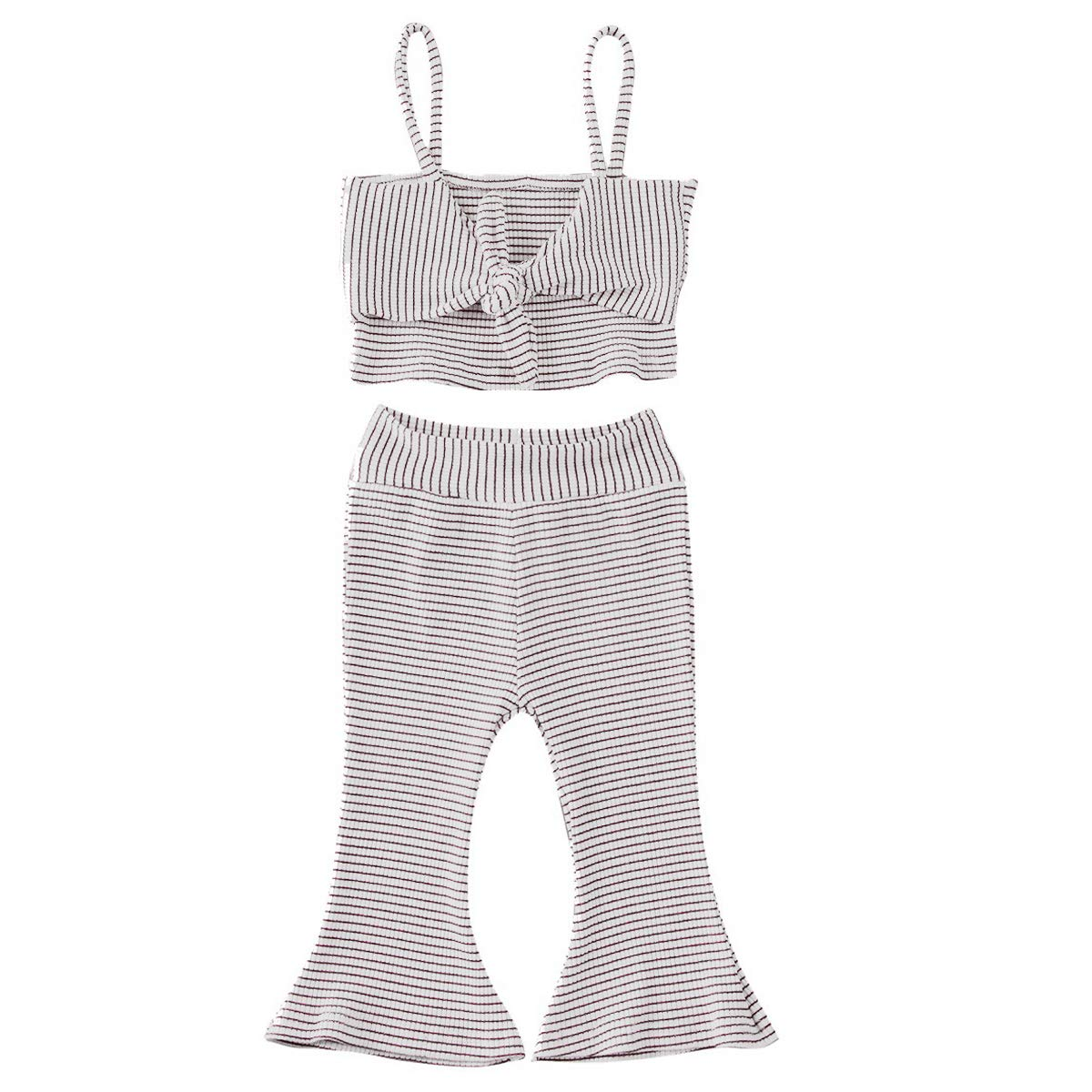 Toddler Baby Girl Striped Pants Set Bowknot Tied Halter Shirt Strap Crop Top Bell Bottom Pants Clothes Set