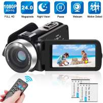 LAIDUOAO 2.7K Video Camera Digital Camera Vlogging Camera WiFi HD 1080P Camcorder with 16X Zoom, 2 Rechargeable Batteries, 30FPS 24MP 3 Inch Touch Screen Easy Operation with Remote
