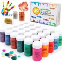 Washable Tempera Paint for Kids, Shuttle Art 30 Colors (60ml 2 oz) Non-Toxic Liquid Finger Paint Set, Includes Neon, Metallic & Glitter Colors Perfect for Poster,Sponge, Canvas,Paper, Arts, Crafts DIY Projects
