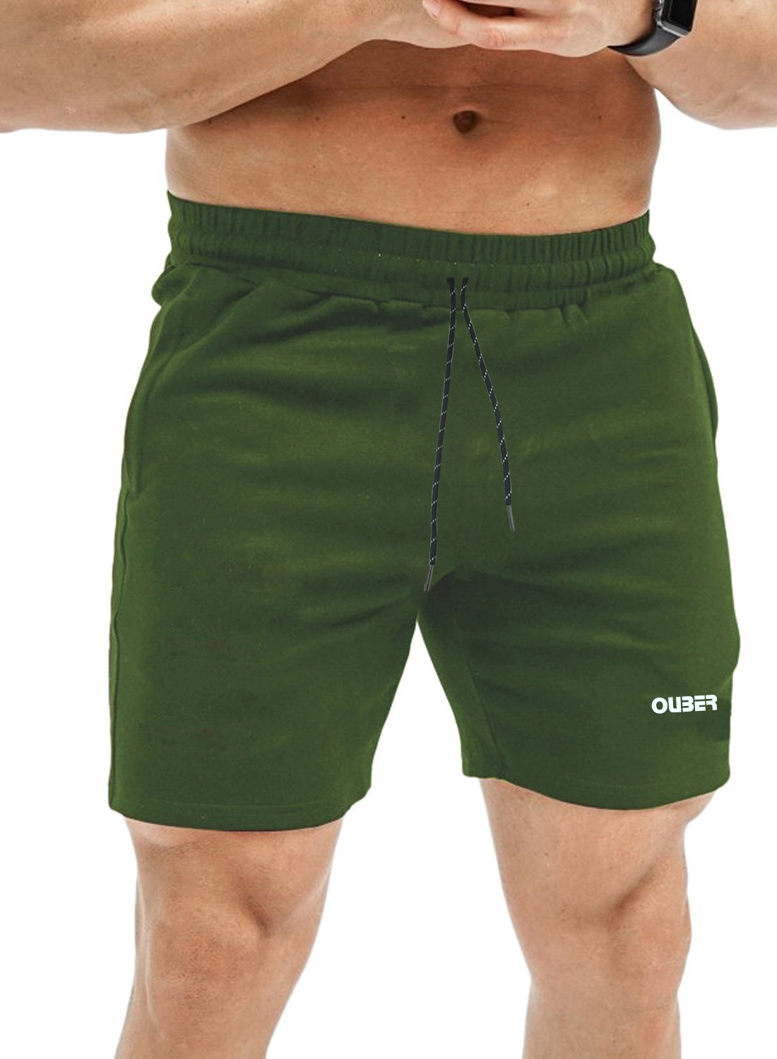 Ouber Men's Fitted Workout Shorts Gym Bodybuilding Joggers Short with Zipper Pockets
