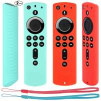 [2 Pack] Remote Protective Case for Fire TV Stick 4K/ Fire TV(3rd Gen) Compatible with All New 2nd Gen Alexa Voice Remote Control, Eye Catching Color (Mint Green + Red)