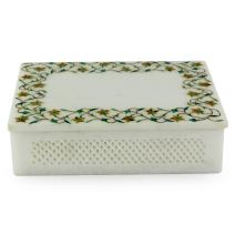 NOVICA Jasmine Garland Marble Inlay Jewelry Box
