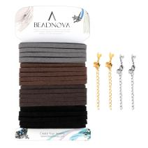 BEADNOVA Flat Leather Cord Fiber Lace Faux Leather Suede Cords Leather Strip Flat Thread String for Jewelry Making and Bracelets (4 Colors, 3.3yard, 5mm)