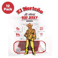 All Natural Beef Jerky Snack Packs - Keto, No Sugar, Low Carb Protein Snacks by El Norteño - No Fillers, No Nitrite No Nitrate Jerky Proudly Made in the USA (12 - 1oz Original Snack Packs)