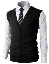 H2H Mens Casual Slim Fit V-Neck Knit Sweater Vest Lightweight Thermal