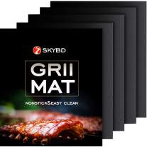 SKYBD BBQ Grill Mat (Set of 4) Non-Stick, Reusable and Easy to Clean, Grilling&Baking Mats for Gas, Charcoal, Electric Grill Sheet - 15.75 x 13 Inch, Black